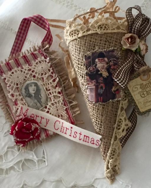 Burlap Cone & Ticking Christmas Ornaments