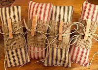 Tea-stained ticking Lavender Sachets!