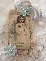Angel w/Blue Flower Christmas Tag