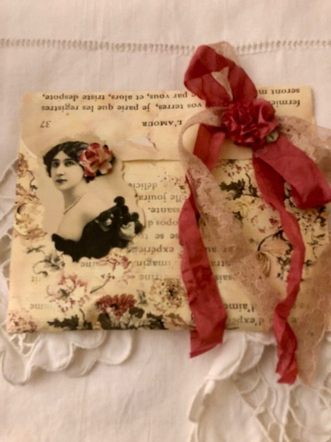 Paper Sachet Envelope-Lady w/Rose!