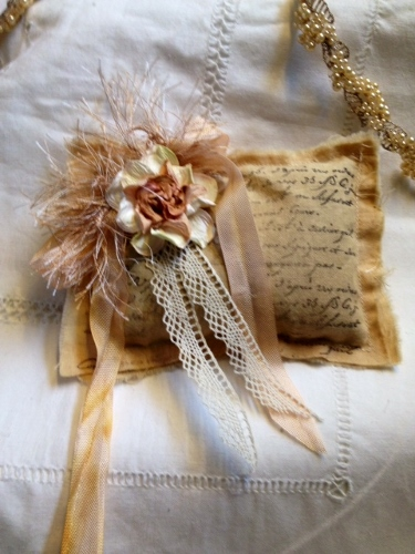 Muslin Lavender Sachet-French Writing